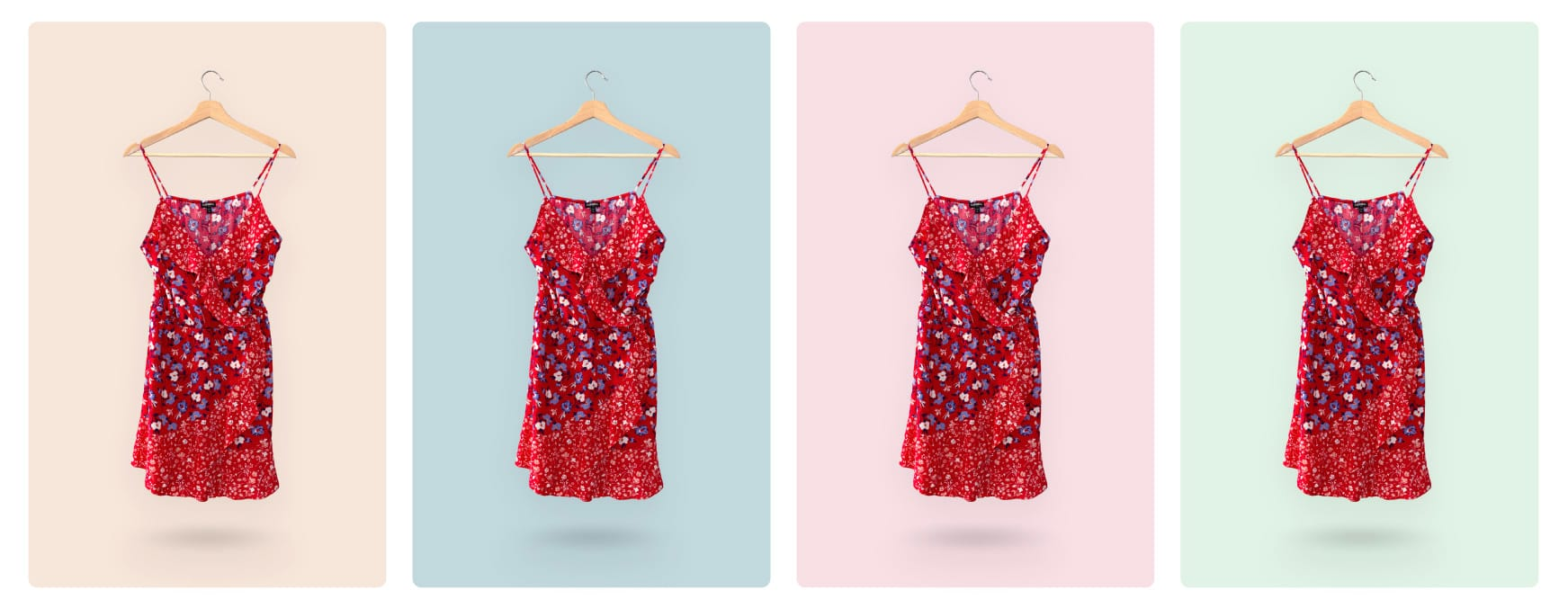 example of a dress product photo with different pastel backgrounds