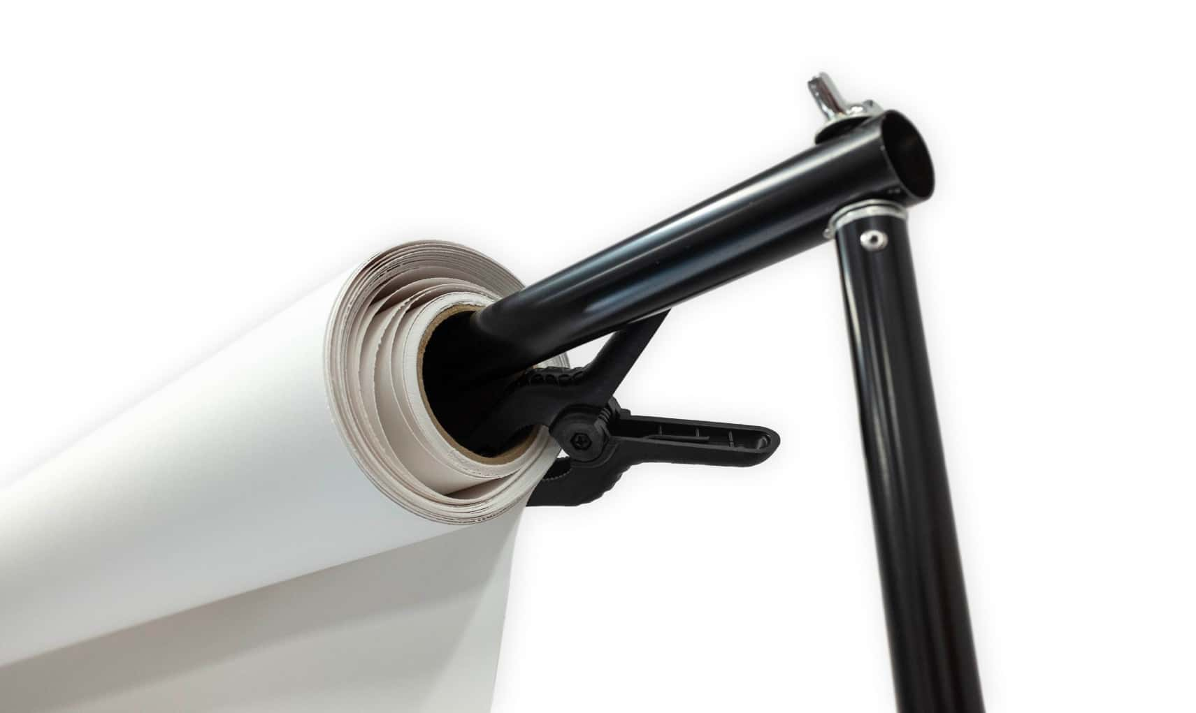 paper roll clamped on to a backdrop