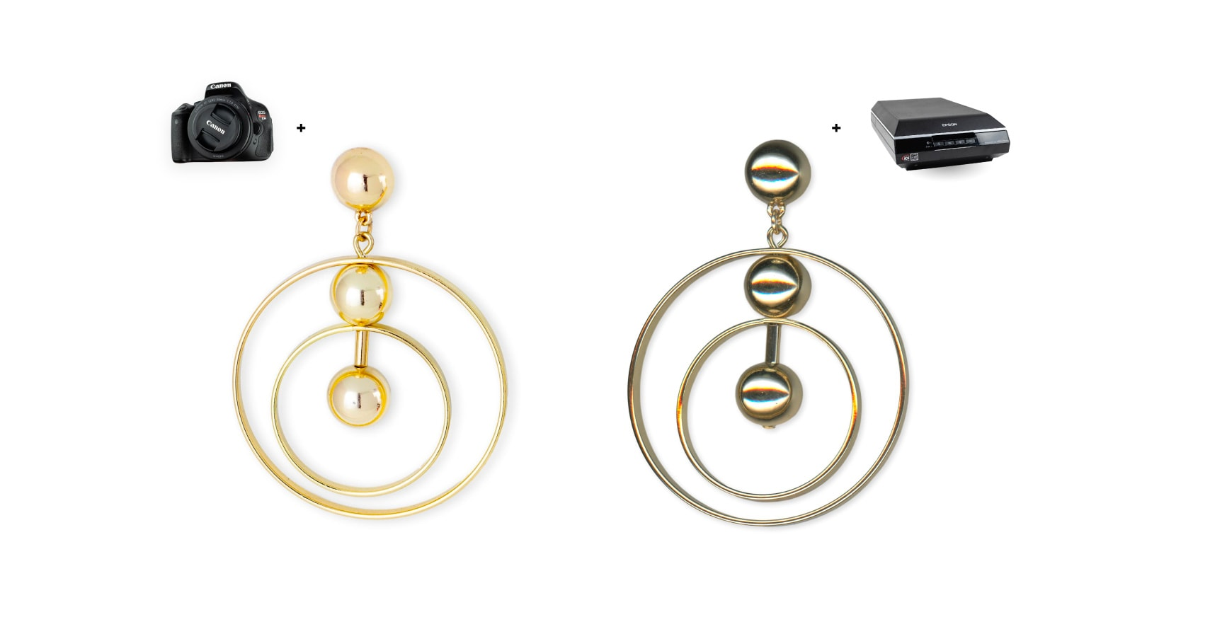 Example of a highly reflective earring that doesn't look good after being scanned, and how it looks taken with a DSLR