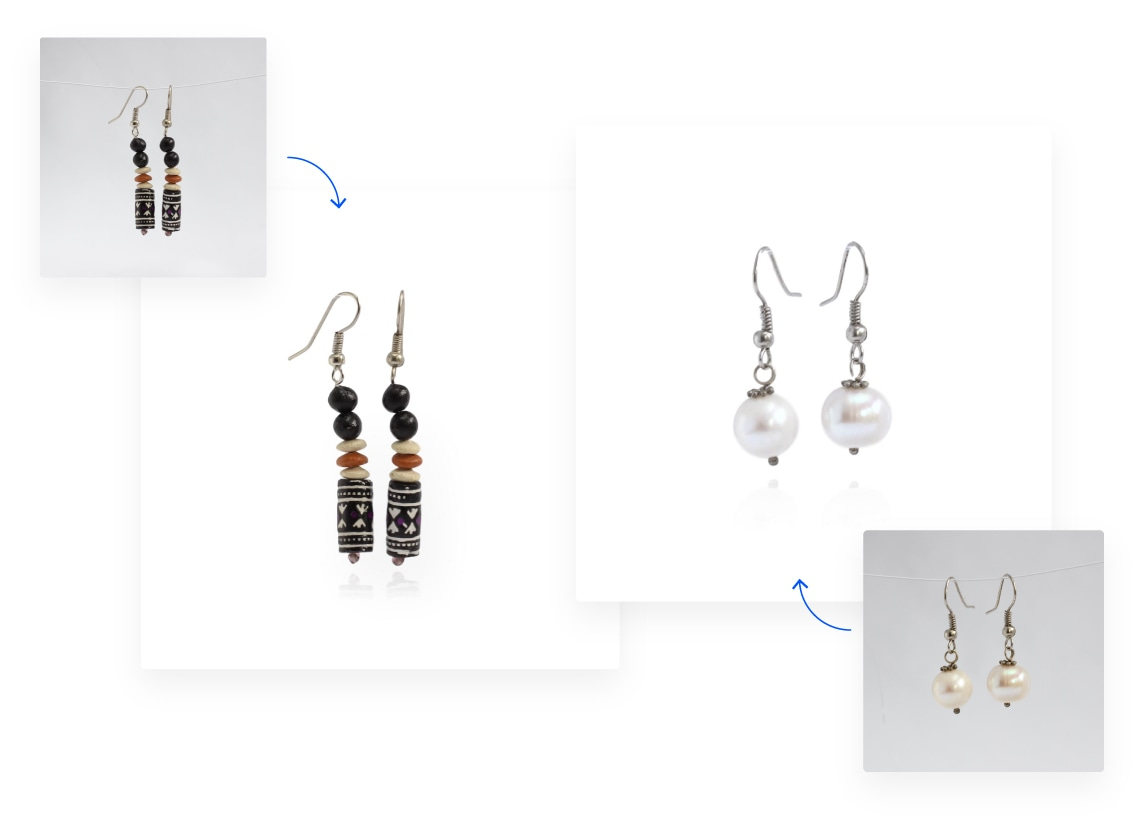 Background removal of multiple images of earrings